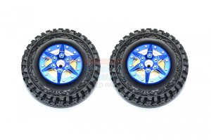 "1.9"" ALUMINUM 6 POLES WHEELS WITH BRASS PENDULUM WEIGHT + CRAWLER TIRE -2PC SET				 - AW1906H-B"