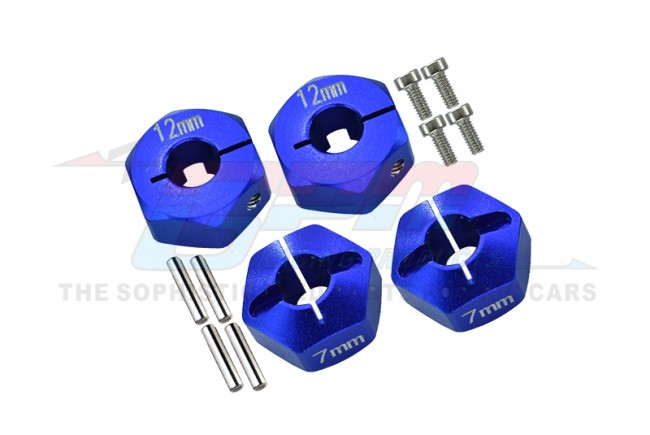 ALLOY HEX ADAPTER (12MMX7MM)-4PCS SET FOR AXIAL EXO,SCX10,WRAITH - AX010/12X7MM-B