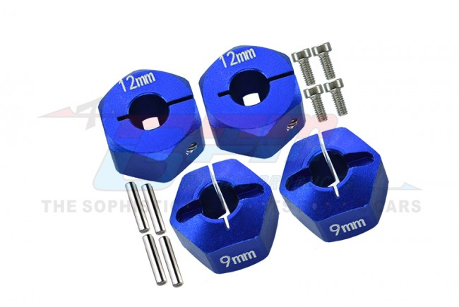 ALLOY HEX ADAPTER (12MMX9MM)-4PCS SET FOR AXIAL EXO,SCX10,WRAITH - AX010/12X9MM-B