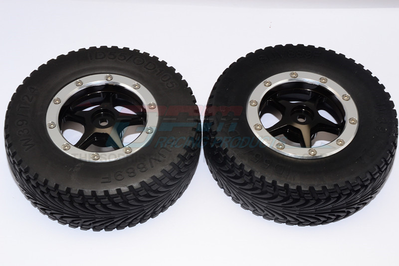 RUBBER FRONT TIRES WITH NYLON RIMS FRAME  & ALLOY 5 STAR BEADLOCK RIMS & 12X9MM DRIVE ADAPTE - BMT0503F+889-BK-S