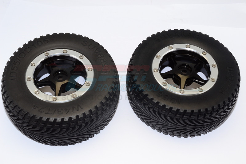 RUBBER REAR TIRES WITH NYLON RIMS FRAME  & ALLOY 5 STAR BEADLOCK RIMS & 12X9MM DRIVE ADAPTER - BMT0503R+889-BK-S