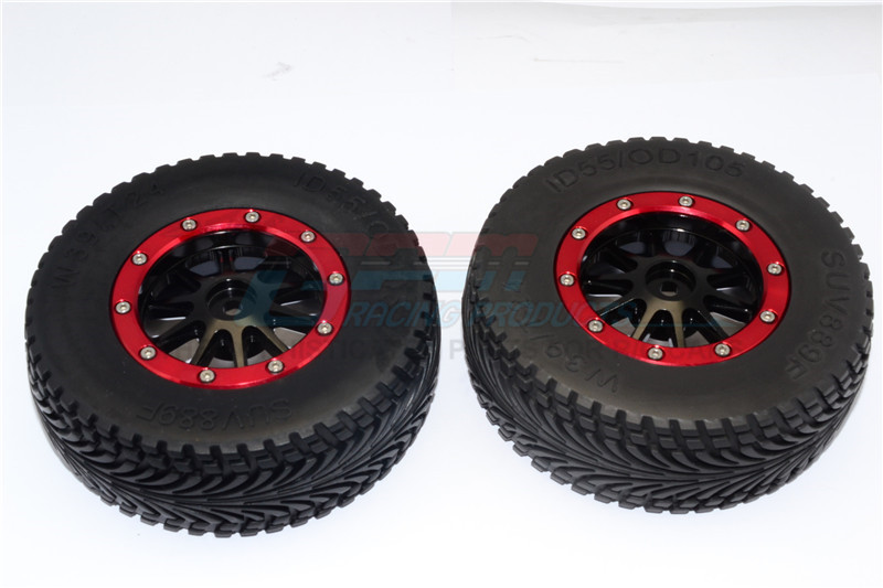 RUBBER FRONT TIRES WITH NYLON RIMS FRAME  & ALLOY 10 POLES BEADLOCK RIMS & 12X9MM DRIVE ADAP - BMT1003F+889-BK-R