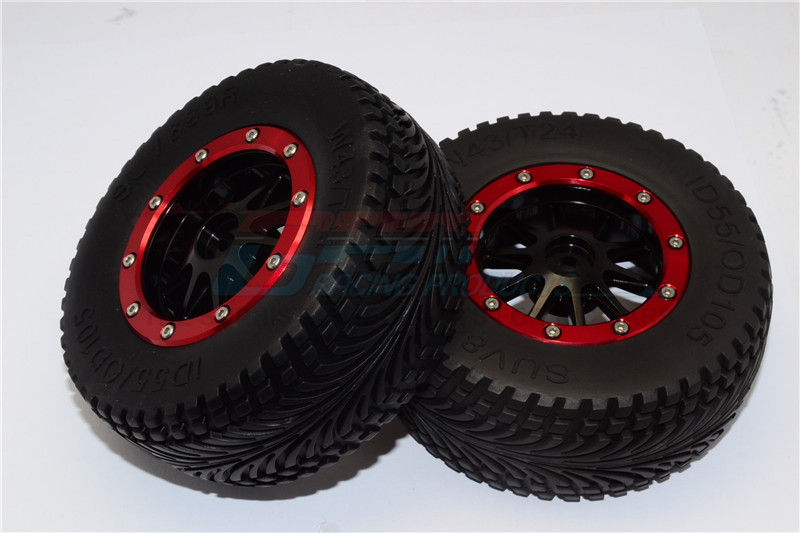 RUBBER REAR TIRES WITH NYLON RIMS FRAME  & ALLOY 10 POLES BEADLOCK RIMS & 12X9MM DRIVE ADAPT - BMT1003R+889-BK-R