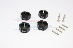 ALLOY HEX ADAPTER 14MM DIAMETER WITH  9MM THICKER-4PCS SET  FOR ORIGINAL BULLET FLUX WHEELS - BST010/14X9-BK