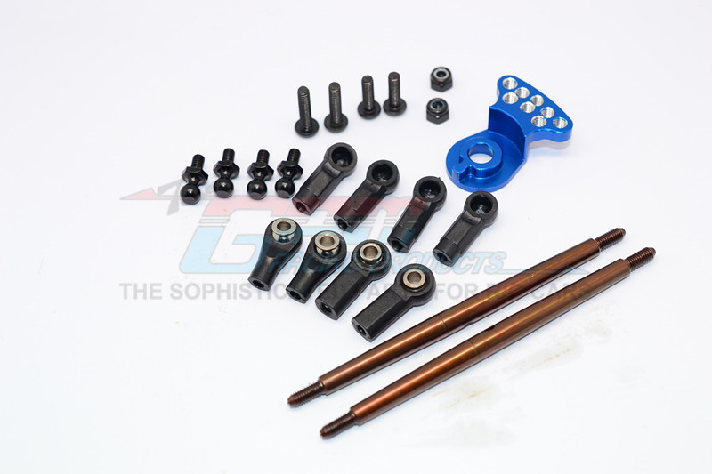 SPRING STEEL MODIFIED ANTI-THREAD  STEERING TIE ROD WITH SERVO SAVER (P3)  - 1SET - DT3160STM-B-BEBK