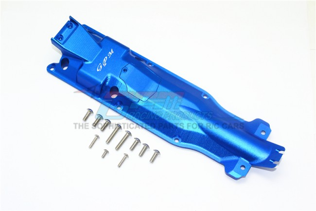 GPM Racing Aluminum 3d Skid Plate For Middle Of Chassis -13pc Set Blue