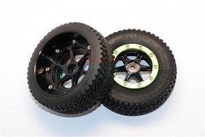 RUBBER FRONT TIRES WITH PLASTIC 6 POLES PATTERN FRONT WHEELS & ALLOY OUTER RING IN BEADLOCK DESI - EX889F603/PW-BK-G
