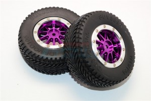 RUBBER REAR TIRES WITH NYLON RIMS FRAME  & ALLOY10 POLES BEADLOCK RIMS (12MM HEX  SHORT COURSE W - EX889R+1003R-P-S