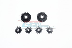 HARDEN STEEL #45 FRONT/CENTER/REAR DIFF BEVEL GEAR & PINION GEAR-6PC SET  - MAK1200S-BK