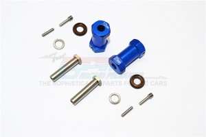 ALUMINIUM WHEEL HEX ADAPTERS 25MM WIDTH (USE FOR 4MM THREAD WHEEL SHAFT & 5MM HOLE WHEEL) - 1PR SET - RR010/255-B