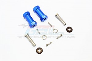 ALUMINIUM WHEEL HEX ADAPTERS 27MM WIDTH (USE FOR 4MM THREAD WHEEL SHAFT & 5MM HOLE WHEEL) - 1PR SET - RR010/275-B