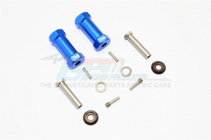 ALUMINIUM WHEEL HEX ADAPTERS 29MM WIDTH (USE FOR 4MM THREAD WHEEL SHAFT & 5MM HOLE WHEEL) - 1PR SET - RR010/295-B