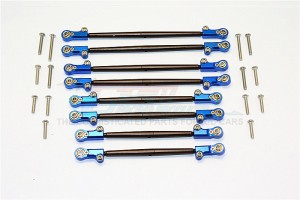 SPRING STEEL FRONT+REAR ROD LINK WITH ALUMINIUM ENDS - 8PCS SET - SCX2049A-B