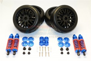 ALUMINUM RALLY RACING DAMPERS AND TIRES - 4PC SET - SLA087102FR-B-OR-BEBK