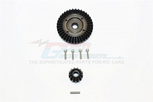 STEEL FRONT/REAR BEVEL GEAR - 2PCS (FOR WRAITH, YETI, RR10 BOMBER, SMT10 MONSTER JAM AX90055) - SMJ1200-BK
