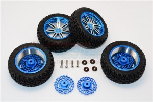 ALUMINUM FRONT +2.5MM, REAR +5.5MM BRAKE DISK + WHEELS & TIRES - 16PC SET - TET2555FR10A-B