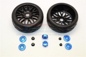RUBBER RADIAL TIRES WITH PLASTIC WHEELS WITH 12MM TO 17MM CONVERTER & 4MM & 5MM WHEEL LOCK -2PCS SET - TRX88910/2-B