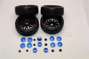 RUBBER RADIAL TIRES WITH PLASTIC WHEELS WITH 12MM TO 17MM CONVERTER & 4MM & 5MM WHEEL LOCK -4PCS SET - TRX88910/4-B