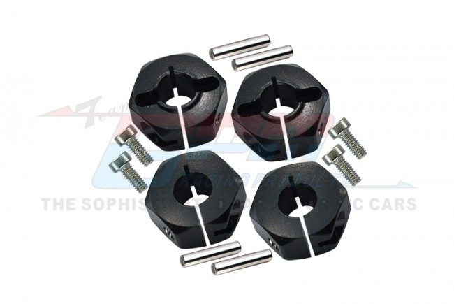 ALLOY WHEEL HEX DRIVE ADAPTOR WITH PINS & SCREWS - 4PCS SET - TT010-BK