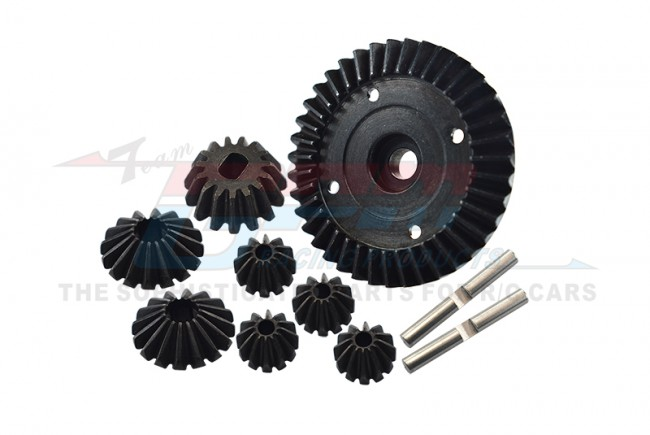 STEEL RING GEAR & BEVEL GEAR - 8PCS SET  (FOR TT02 / TT02B) - TT2100-BK