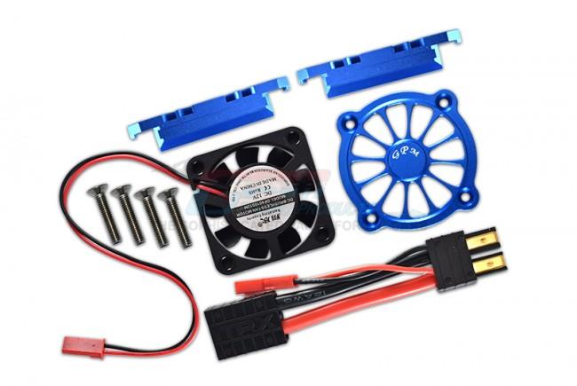 GPM Racing Aluminum Motor Heatsink With Cooling Fan -9pc Set Blue