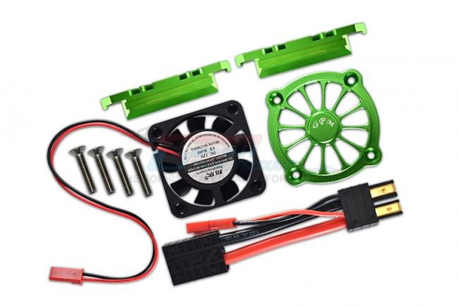 GPM Racing Aluminum Motor Heatsink With Cooling Fan -9pc Set Green