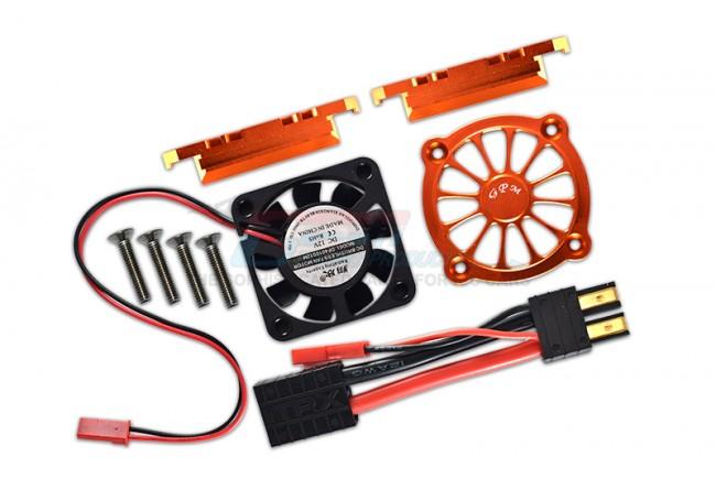 GPM Racing Aluminum Motor Heatsink With Cooling Fan -9pc Set Orange