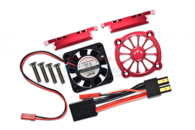 GPM Racing Aluminum Motor Heatsink With Cooling Fan -9pc Set Red