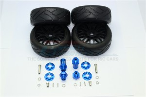 ALUMINUM FRONT & REAR HEX ADAPTERS+RUBBER ON-ROAD RADIAL TIRES WITH PLASTIC WHEELS-24PC SET - YT88910/0823-B