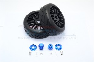 ALUMINUM 8MM FRONT HEX ADAPTERS+RUBBER ON-ROAD RADIAL TIRES W. PLASTIC WHEELS-12PC SET - YT88910/8MM-B
