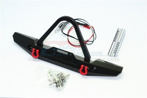 ALUMINUM FRONT BUMPER WITH LED LIGHTS FOR CRAWLERS (B)-19PC SET - ZSP026-BK